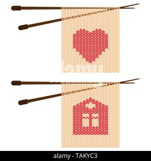 Pattern in the form of hearts and home knitting needles Vector illustration - Stock Photo