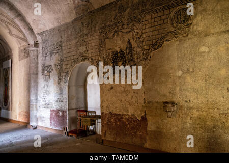 Ancient murals in the San Nicolas Tolentino Temple and Ex-Monastery in Actopan, Hidalgo, Mexico. The colonial church and convent  was built in 1546 and combine architectural elements from the romantic, gothic and renaissance periods. - Stock Photo