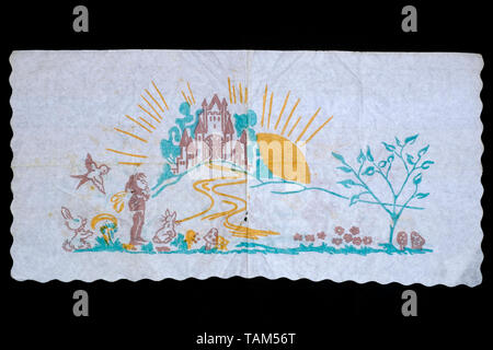 printed paper serviette popular for school children to collect in 1970s hungary - Stock Photo