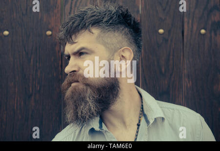 Bearded man on wooden background. Man with long beard and mustache on unshaven face. Fashion hipster with stylish hair. Barber and hairdresser salon - Stock Photo