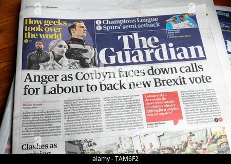 'Anger as Corbyn faces down calls for Labour to back new Brexit vote' Guardian newspaper headline on 1 May 2019  London England UK Great Britain - Stock Photo