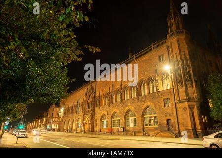 Scottish national portrait gallery at night, Queen St, Edinburgh city centre, Scotland UK - Stock Photo