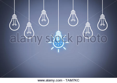 Creative Idea Concepts with Light Bulb on Screen - Stock Photo