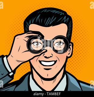 Businessman looking through binoculars. Business retro style pop art - Stock Photo