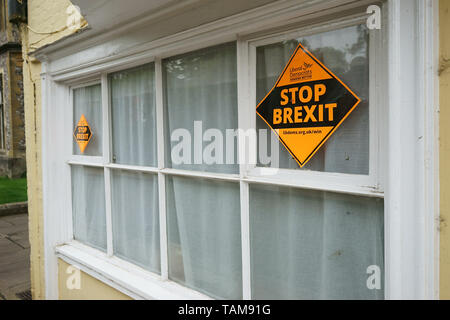 Winchester, Hampshire, UK. Stop Brexit poster on outside house in which Jane Austen lived her last days and died - 18 may 2019 - Stock Photo