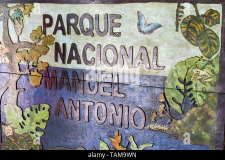 Park Entrance Table to Manuel Antonio National Park on Costa Rica Pacific Coast. The park is famous for vast diversity of tropical plants and wildlife - Stock Photo