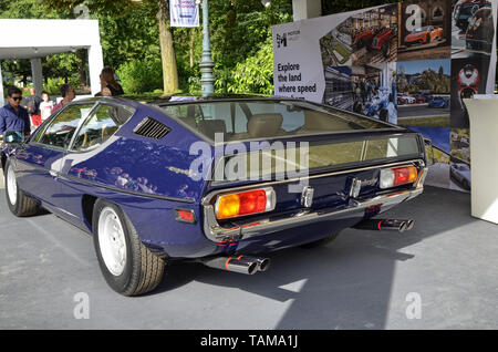 Turin, Piedmont, Italy. June 2018. At the Valentino park, the motor show. At the Lamborghini stand there are both modern and vintage models - Stock Photo
