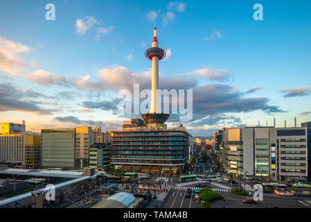 aerial view of the skyline of  kyoto, japan - Stock Photo