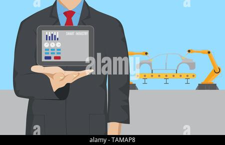 Businessman control digital tablet in car welding assembly line - Stock Photo