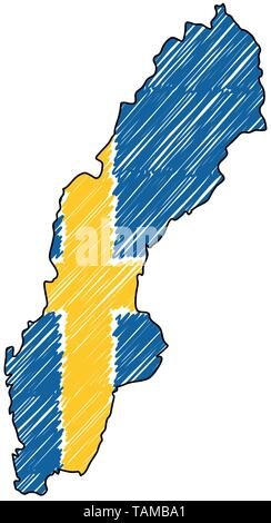 Sweden map hand drawn sketch. Vector concept illustration flag, childrens drawing, scribble map. Country map for infographic, brochures and - Stock Photo