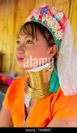 Bangkok, Tahiland - 2019-03-03 - Karen Long Neck Woman In Portrait - Stock Photo