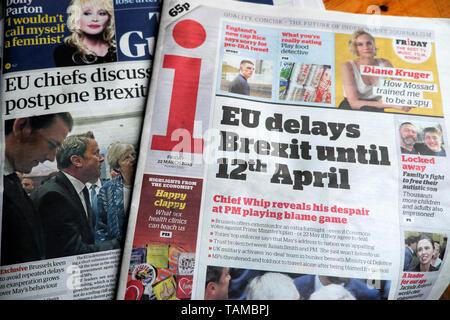 'EU delays Brexit until 12th April' newspaper headline regarding Brexit deadline delay in the i newspaper on 22 March 2019 London England UK Great Britain - Stock Photo