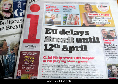 'EU delays Brexit until 12th April' newspaper headline in the i newspaper on 22 March 2019 London England UK Great Britain - Stock Photo