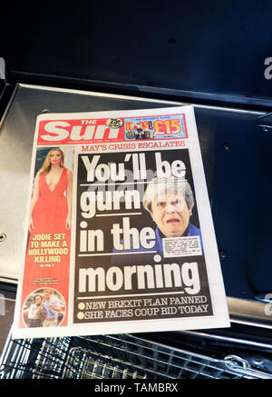 The Sun newspaper front page headlines  'You'll be gurn in the morning' PM Theresa May Brexit plan crisis 22 April 2019 in London England Britain GB UK - Stock Photo