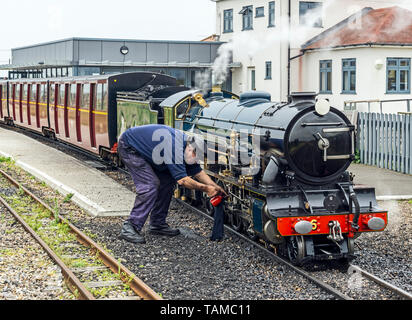 Light steam engine samson outside End of the line restaurant at Romney, Hythe and Dymchurch Railway Dungeness Station in Dungeness Kent England UK - Stock Photo