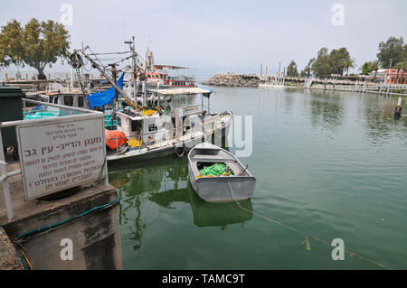 Israel, Kibbutz Ein Gev (Established 1937) on the shores of the Sea of Galilee. Fishing boats in the harbour - Stock Photo