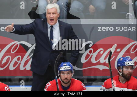 Bratislava, Slovakia. 26th May, 2019. BRATISLAVA, SLOVAKIA - MAY 26, 2019: Milos Riha (background), head coach of the Czech men's national ice hockey team, reacts in the 2019 IIHF Ice Hockey World Championship Bronze medal match between Russia and the Czech Republic at Ondrej Nepela Arena. Alexander Demianchuk/TASS Credit: ITAR-TASS News Agency/Alamy Live News - Stock Photo