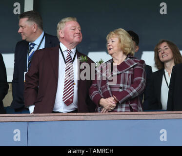 25th May 2019, Hampden Park, Glasgow, Scotland; Scottish Football Cup Final, Heart of Midlothian versus Celtic; Hearts owner Anne Budge looks across the stands - Stock Photo