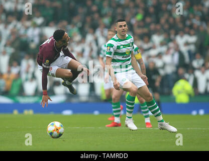 25th May 2019, Hampden Park, Glasgow, Scotland; Scottish Football Cup Final, Heart of Midlothian versus Celtic; Tom Rogic of Celtic tackles Sean Clare of Heart of Midlothian - Stock Photo