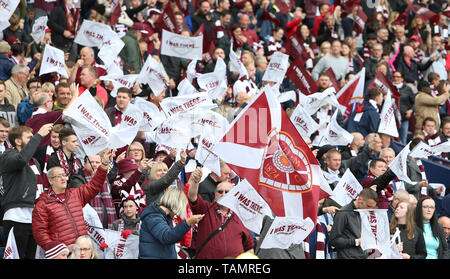 25th May 2019, Hampden Park, Glasgow, Scotland; Scottish Football Cup Final, Heart of Midlothian versus Celtic; Hearts fans support their team with flags - Stock Photo
