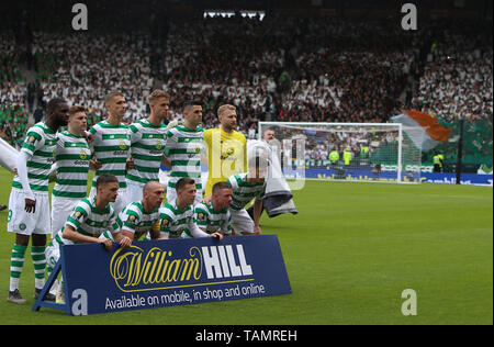 25th May 2019, Hampden Park, Glasgow, Scotland; Scottish Football Cup Final, Heart of Midlothian versus Celtic; Celtic players line up for a team photo - Stock Photo