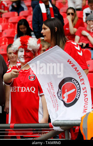 London, UK. 26th May, 2019. Charlton Athletic fans seen during the EFL Sky Bet League 1 Play-Off Final match between Charlton Athletic and Sunderland at Wembley Stadium, London, England on 26 May 2019. Photo by Carlton Myrie. Editorial use only, license required for commercial use. No use in betting, games or a single club/league/player publications. Credit: UK Sports Pics Ltd/Alamy Live News - Stock Photo