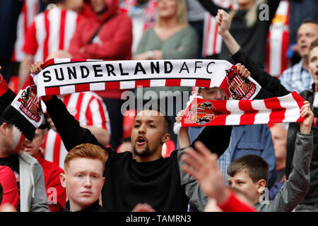London, UK. 26th May, 2019. Sunderland AFC fans seen during the EFL Sky Bet League 1 Play-Off Final match between Charlton Athletic and Sunderland at Wembley Stadium, London, England on 26 May 2019. Photo by Carlton Myrie. Editorial use only, license required for commercial use. No use in betting, games or a single club/league/player publications. Credit: UK Sports Pics Ltd/Alamy Live News - Stock Photo