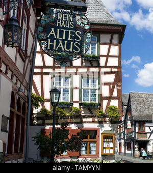 At the sign of the old house, half-timbered house at Bacharach, Unesco world heritage site, Upper Middle Rhine Valley, Rhineland-Palatinate, Germany - Stock Photo