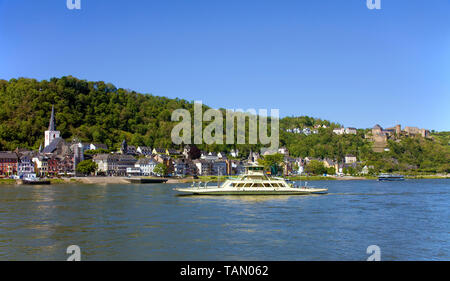 Car ferry Lorelei VI from Sankt Goar to St. Goarshausen, above the Rheinfels castle, Upper Middle Rhine Valley, Rhineland-Palatinate, Germany - Stock Photo