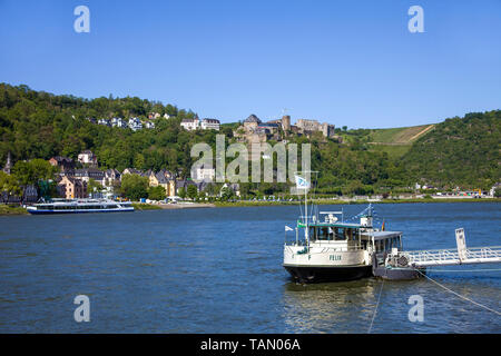 View from St. Goarshausen on Sankt Goar with Rheinfels castle, Unesco world heritage site, Upper Middle Rhine Valley, Rhineland-Palatinate, Germany - Stock Photo