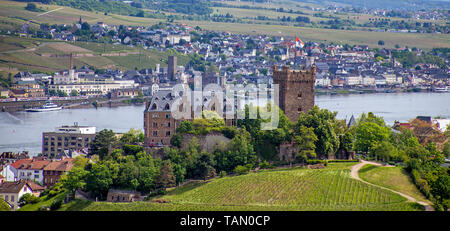 Klopp castle at Bingen, view on Ruedesheim at other side of the Rhine, Upper Middle Rhine Valley, Rhineland-Palatinate, Germany - Stock Photo