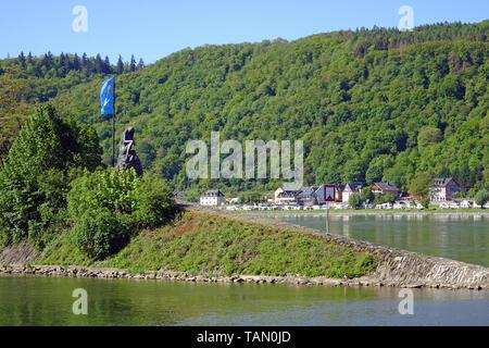 Lorelei statue at St. Goarshausen, Unesco world heritage site, Upper Middle Rhine Valley, Rhineland-Palatinate, Germany - Stock Photo