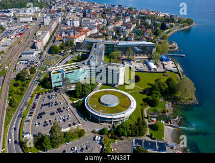 Headquarters of the Swiss multinational food and drink company Nestle S.A. at Lac Leman, Vevey, Switzerland - Stock Photo