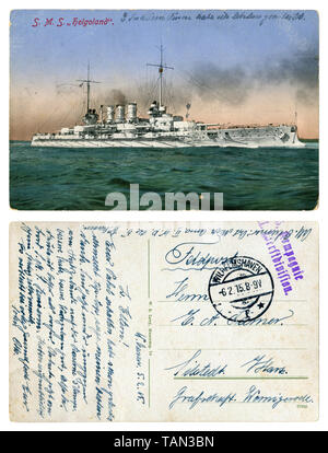 German historical postcard: SMS Helgoland, 1909, German battleship of the Helgoland type, first world war 1914-1918, the Navy of the German Empire - Stock Photo