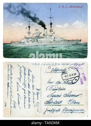 German historical postcard: SMS Mecklenburg, the squadron battleship type Wittelsbach first world war 1914-1918, the Navy of the German Empire, 1915 - Stock Photo