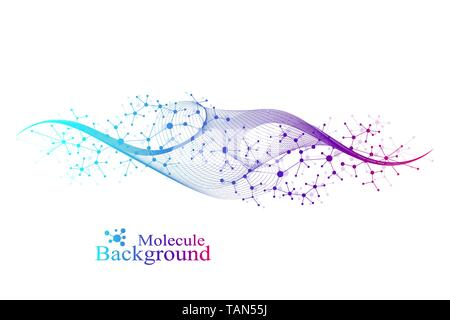 Colorful molecules background. DNA helix, DNA strand, DNA Test. Molecule or atom, neurons. Abstract structure for science or medical background - Stock Photo