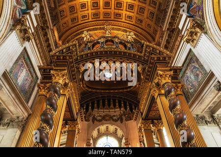 London, United Kingdom - May 12, 2019: Inside St Paul's Cathedral in London, interior building details. It is an Anglican cathedral, the seat of the Bishop of London . - Stock Photo