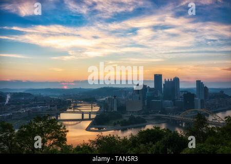City of Pittsburgh, Pennsylvania at sunrise from Mount Washington. - Stock Photo