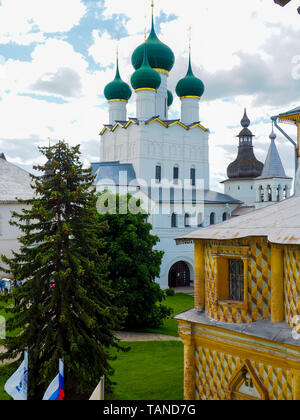 Elegant green onion-shape cupolas of Church of St. John the Divine in Rostov Kremlin. The church was constructed in 1670-1683. - Stock Photo