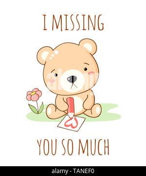 Cute sad cartoon bear draws a pencil heart. Inscription I missing you so much. Isolated on white background. EPS8 - Stock Photo