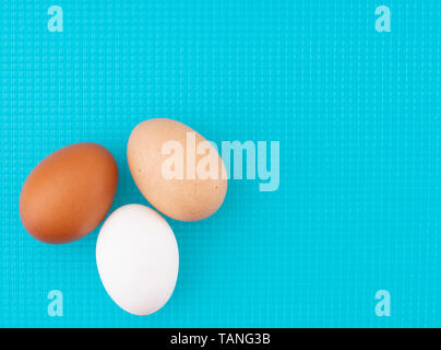 A diversity of eggs. Three chicken, hens eggs on turquoise kitchen board. Different colors: brown white and speckled. - Stock Photo