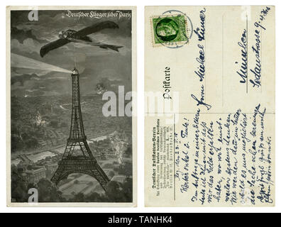 German historical postcard: military airplane Taube over Paris, the Eiffel tower on the background of explosions and fires. The first world war, 1915 - Stock Photo