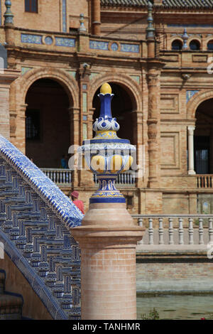 Spain. Seville.  Spanish Square, built in 1928 for the Ibero-American Exposition of 1929. Architect: Anibal Gonzalez. - Stock Photo