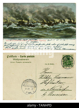German historical postcard: Navy, warships at sea. The maneuvers of the torpedo. Stormy sea. Black smoke from ship's pipes. Back side, Kiel, 1905 - Stock Photo