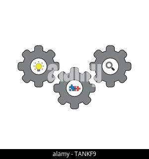 Vector icon concept of gears with light bulb, connected puzzle pieces and magnifying glass. Black outlines and colored. - Stock Photo