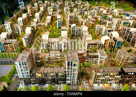 Layout of a residential area of urban condominium in miniature - Stock Photo
