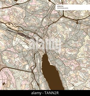 Map of Zurich art map print template, brown colored version for Apps, Print or web backgrounds - Stock Photo