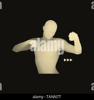 Boxer  3D Model of Man  Human Body  Sport Symbol  Design