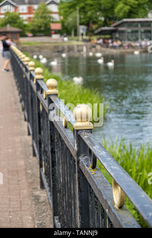 View of black iron railings topped with golden balls leading away into the distance, with a shallow depth of field. Stone walkway one side and a lake  - Stock Photo