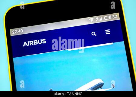 Berdyansk, Ukraine - 23 May 2019: AIRBUS aerospace website homepage. AIRBUS logo visible on the phone screen - Stock Photo